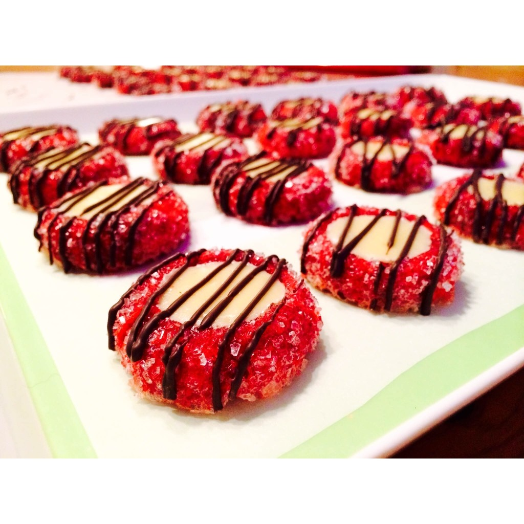 Chocolate Drizzled Red Velvet Cream Cheese Thumbprint Cookies