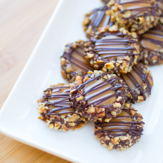 Chocolate Turtle Pecan Cookies